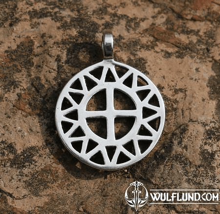 SUN AND CROSS, SILVER PENDANT