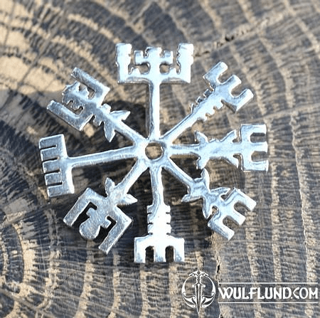 VEGVISIR, RUNE, PENDANT FOR PROTECTION, STERLING SILVER