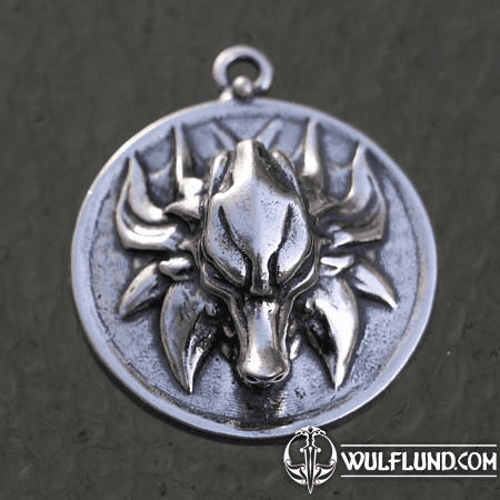 SLAVIC WOLF PENDANT, STERLING SILVER