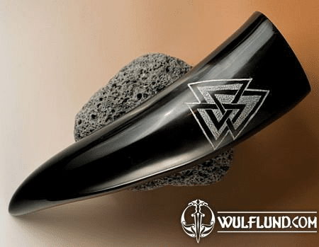 VALKNUT, CARVED DRINKING HORN