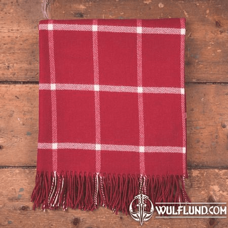 RED & WHITE WINDOWPANE THROW, LAMBS WOOL BLANKET