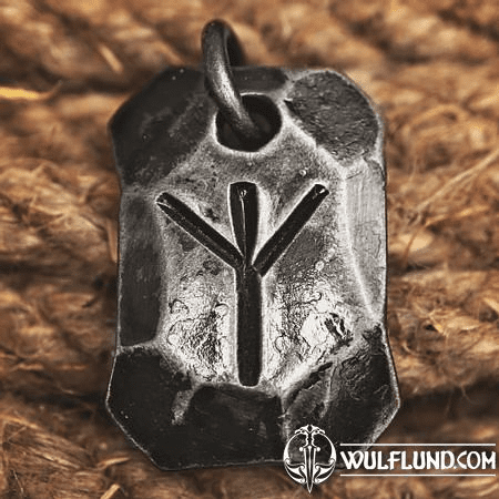 ALGIZ, FORGED IRON RUNE PENDANT