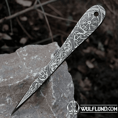 VENGEANCE ETCHED THROWING KNIFE WITH VEGVÍSIR - 1 PIECE