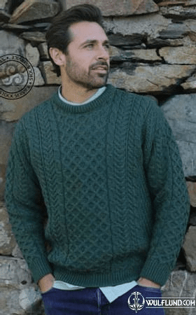 ARAN MERINO WOOLLEN SWEATER, MEN'S, GREEN