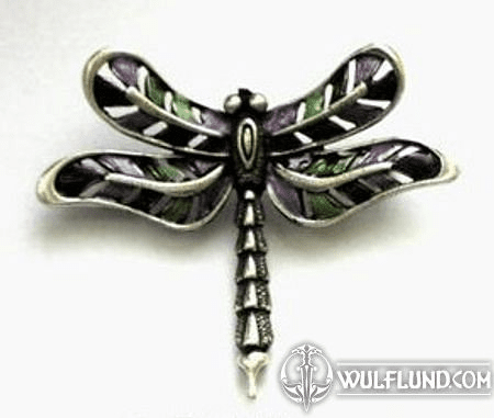 DRAGONFLY, HAND COLOURED COSTUME BROOCH