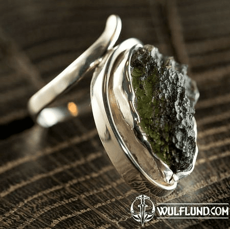 NATURAL MOLDAVIT, RING, SILVER 925