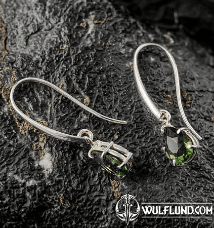 SINOPE, EARRINGS, FACETED MOLDAVITE JEWELRY, SILVER