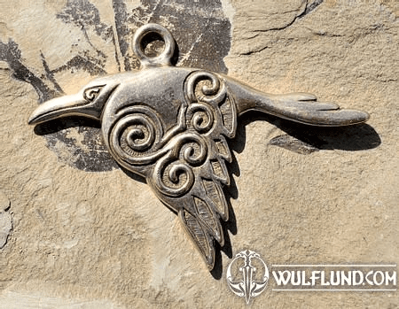 CORVUS - CELTIC CROW PENDANT, BRONZE