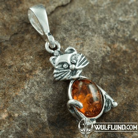 CAT, PENDANT, AMBER, SILVER