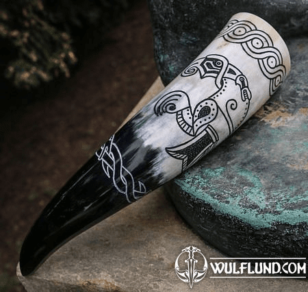 VIKING RAVEN, CARVED DRINKING HORN