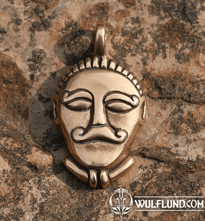 CELTIC HEAD, BRONZE PENDANT