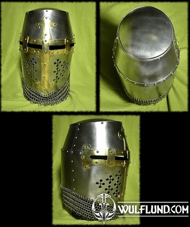CRUSADER GREAT HELM WITH CHAINMAIL