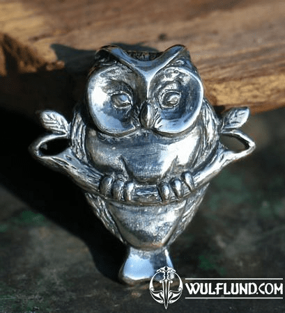 OWL ON BRANCH, SILVER PENDANT