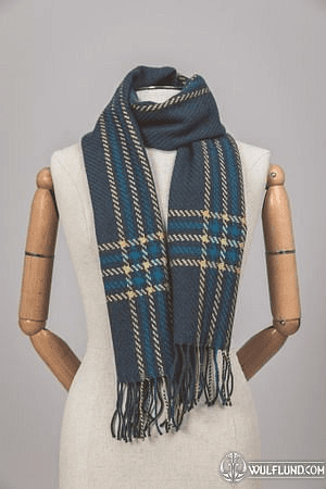 NAUTICAL LARGE TURQUOISE & YELLOW CHECK SCARF, IRELAND