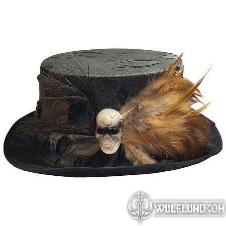 VOODOO HEALER'S SKULL, BONE AND FEATHER TOP HAT