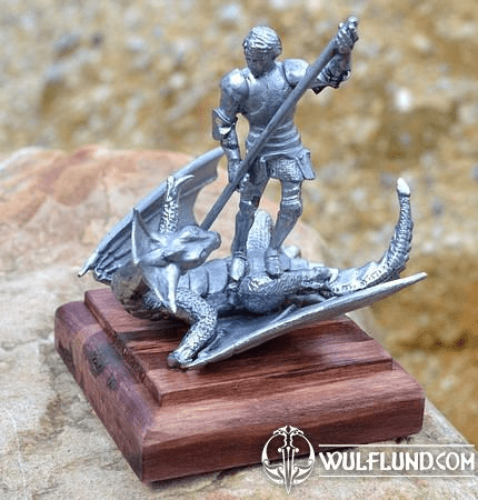 KNIGHT AND THE DRAGON, HISTORICAL TIN STATUE
