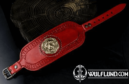 GLADIATOR - LION'S HEAD, LEATHER BRACELET, RED