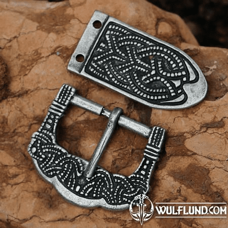VIKING BUCKLE AND STRAP END, GOKSTAD, ZINC, REPLICA