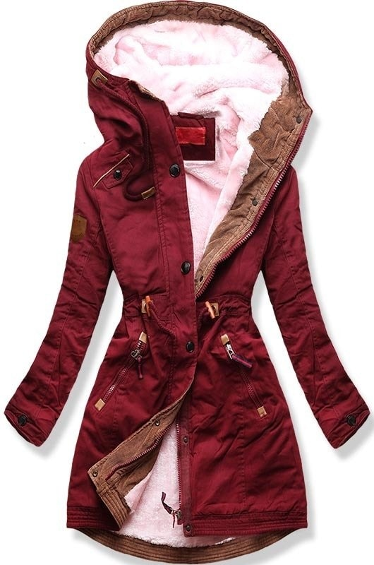 faf91f66e TRENDOVA - Dámska zimná bunda s kapucňou A931 bordová - Bundy