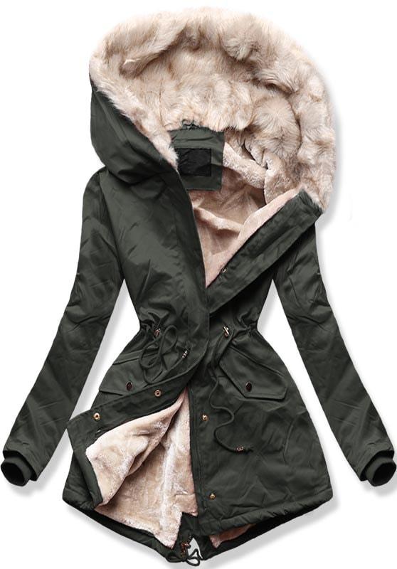 Dámska zimní bunda B508 khaki