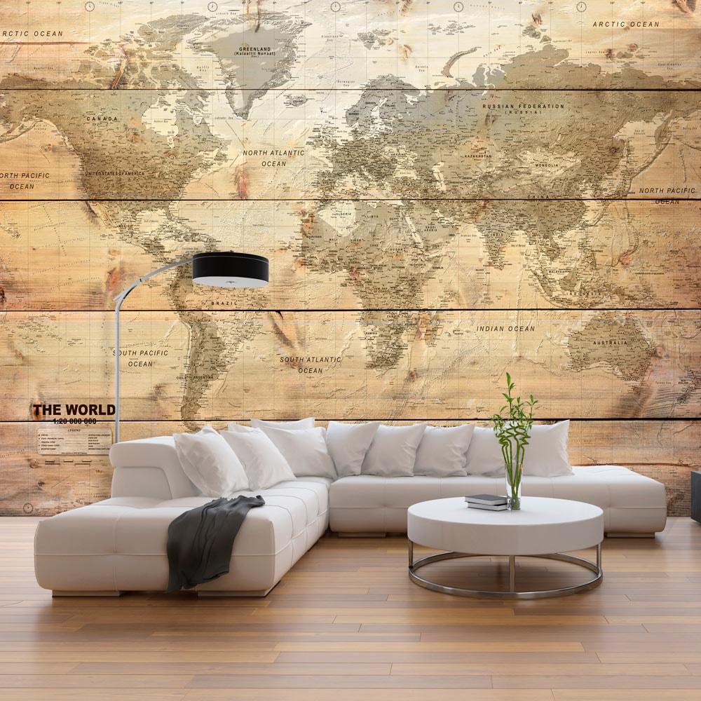Fototapeta Mapa Sveta S Imitaciou Dreva Map On Boards Dovido Sk