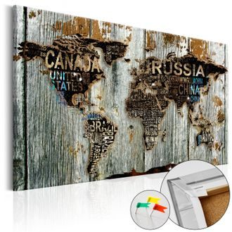 Pinboard - Wooden Border [Cork Map]