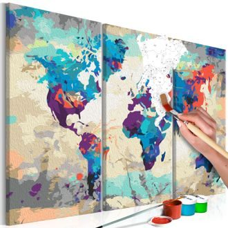 Pictatul pentru recreere - World Map (Blue & Red) 3 Parts