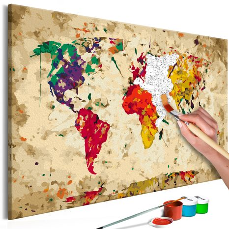 SLIKA ZA SAMOSTALNO SLIKANJE - WORLD MAP (COLOUR SPLASHES)