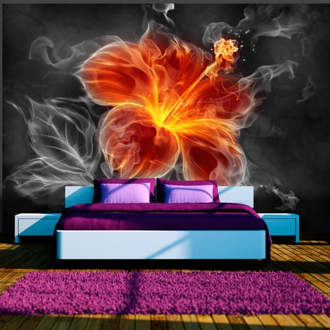 FOTO TAPETA - FIERY FLOWER INSIDE THE SMOKE