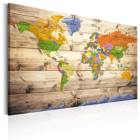 TABLOU - MAP ON WOOD: COLOURFUL TRAVELS