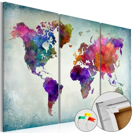 PINBOARD - WORLD IN COLORS [CORK MAP]