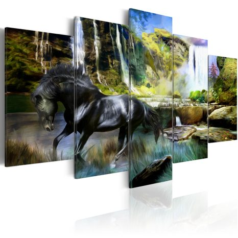 SLIKA - BLACK HORSE ON THE BACKGROUND OF PARADISE WATERFALL