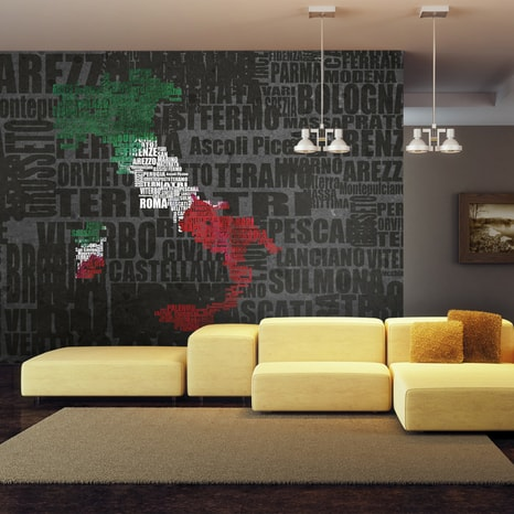 FOTO TAPETA - TEXT MAP OF ITALY