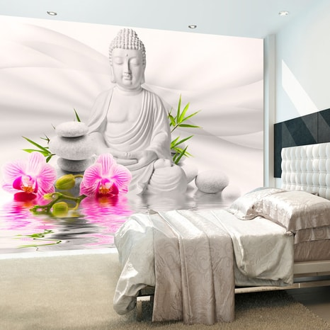 FOTOTAPETA BUDHA A ORCHIDEA - BUDDHA AND ORCHIDS