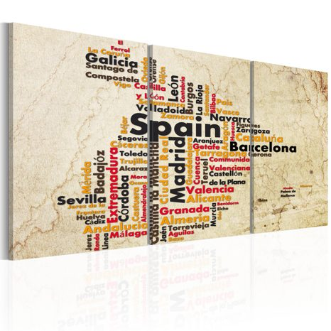 SLIKA - SPAIN: TEXT MAP IN COLORS OF NATIONAL FLAG