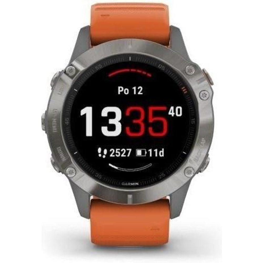 Garmin fenix6 PRO Sapphire, Titanium/Orange Band (MAP/Music) 010-02158-93 + 5 let záruka, pojištění hodinek ZDARMA
