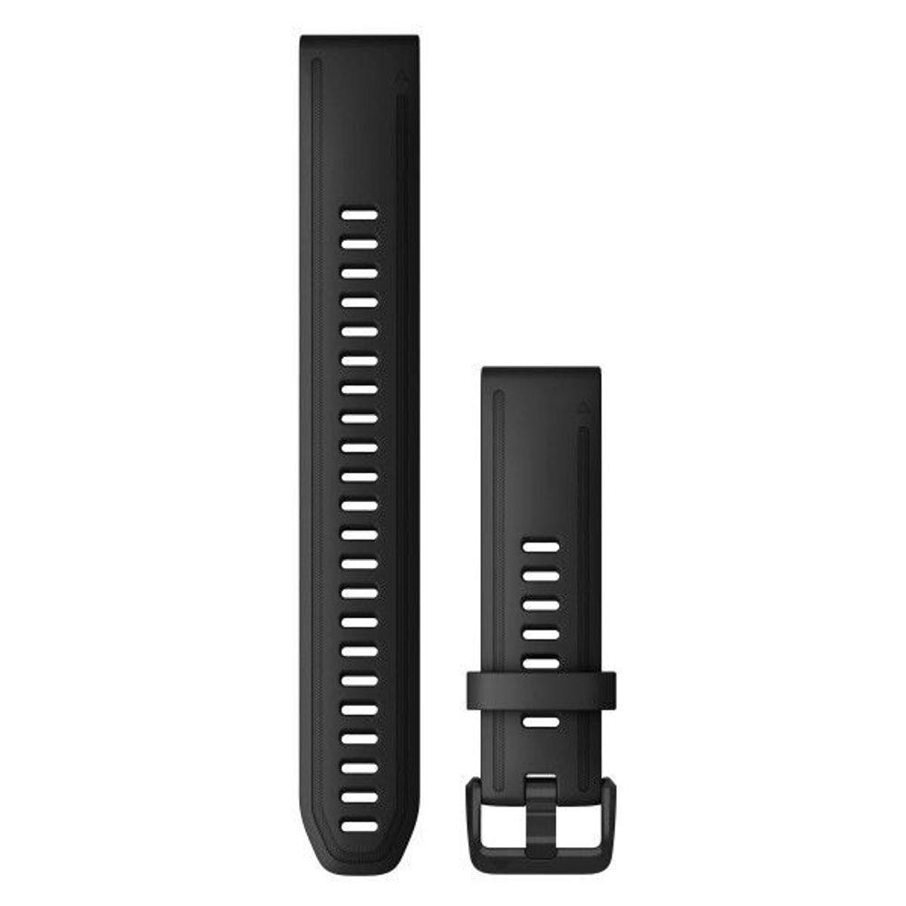 Garmin Řemínek Garmin QuickFit 20, silikonový, černý, dlouhý, černá přezka - 010-12942-00 + 5 let záruka, pojištění hodinek ZDARMA