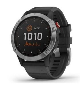 Garmin fenix6 Solar, Silver/Black Band 010-02410-00