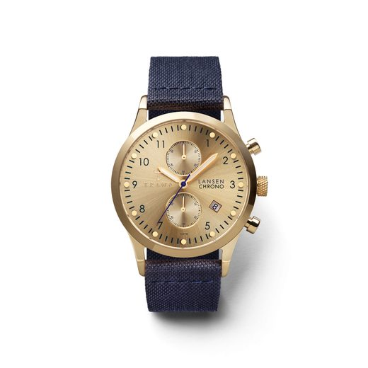 TRIWA GOLD LANSEN CHRONO NAVY CANVAS CLASSIC TW-LCST103-CL060713
