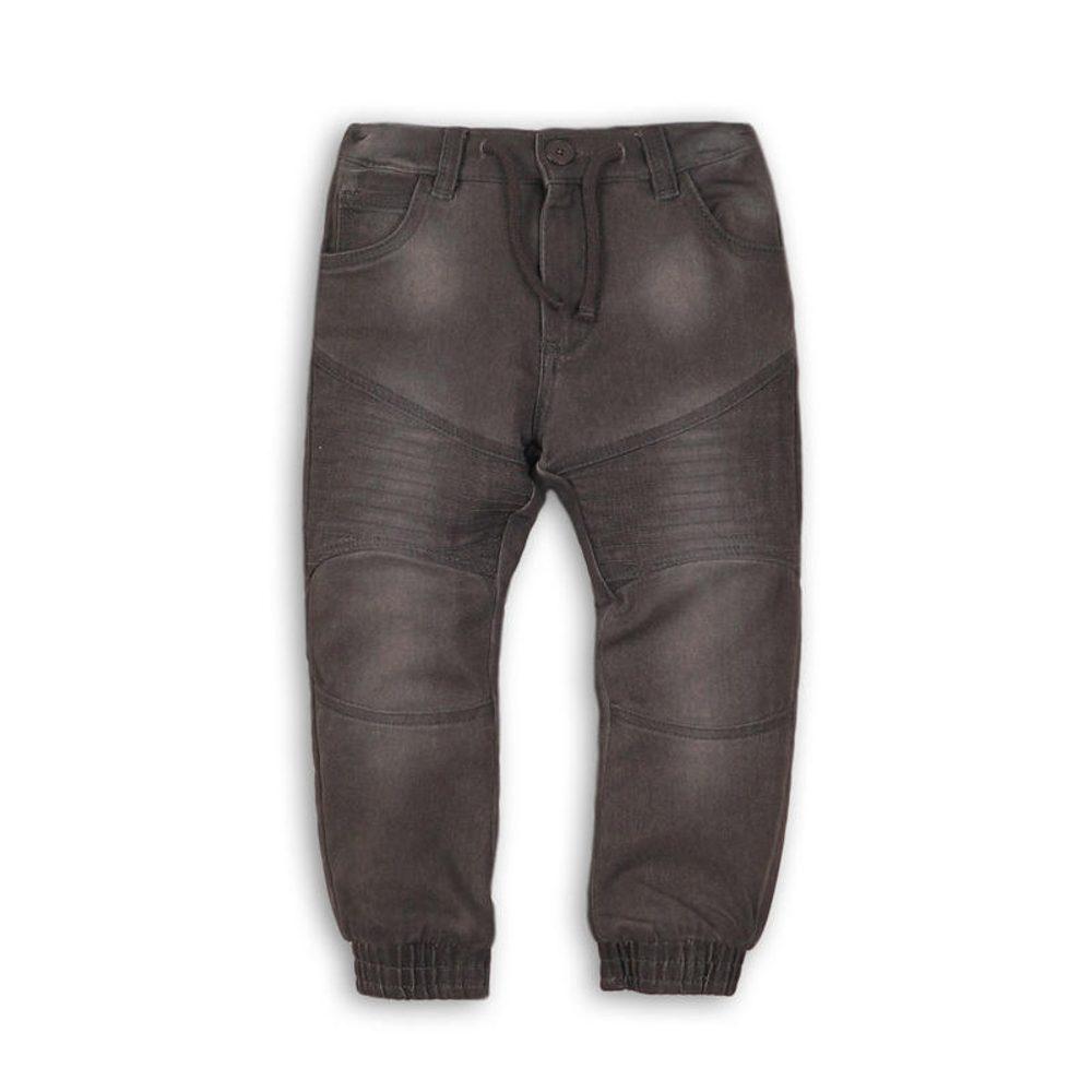 Kalhoty chlapecké džínové s elastenem, nohavice do gumy, Minoti, MONO 8, šedá - 104/110