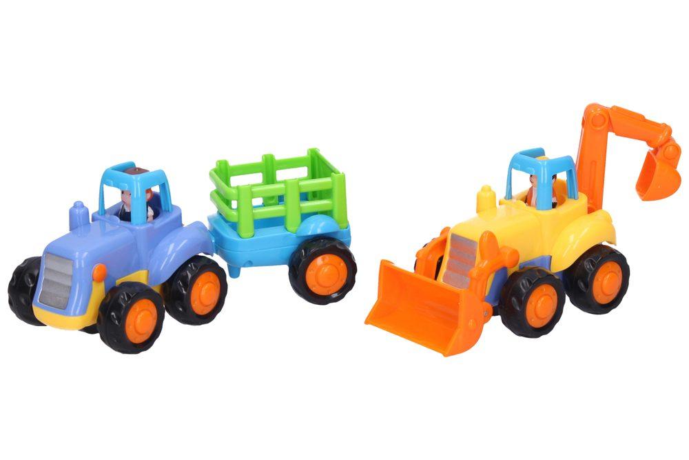 Traktor + vlek / Bager so zotrvačníkom, 16 cm, Wiky Vehicles, W110946