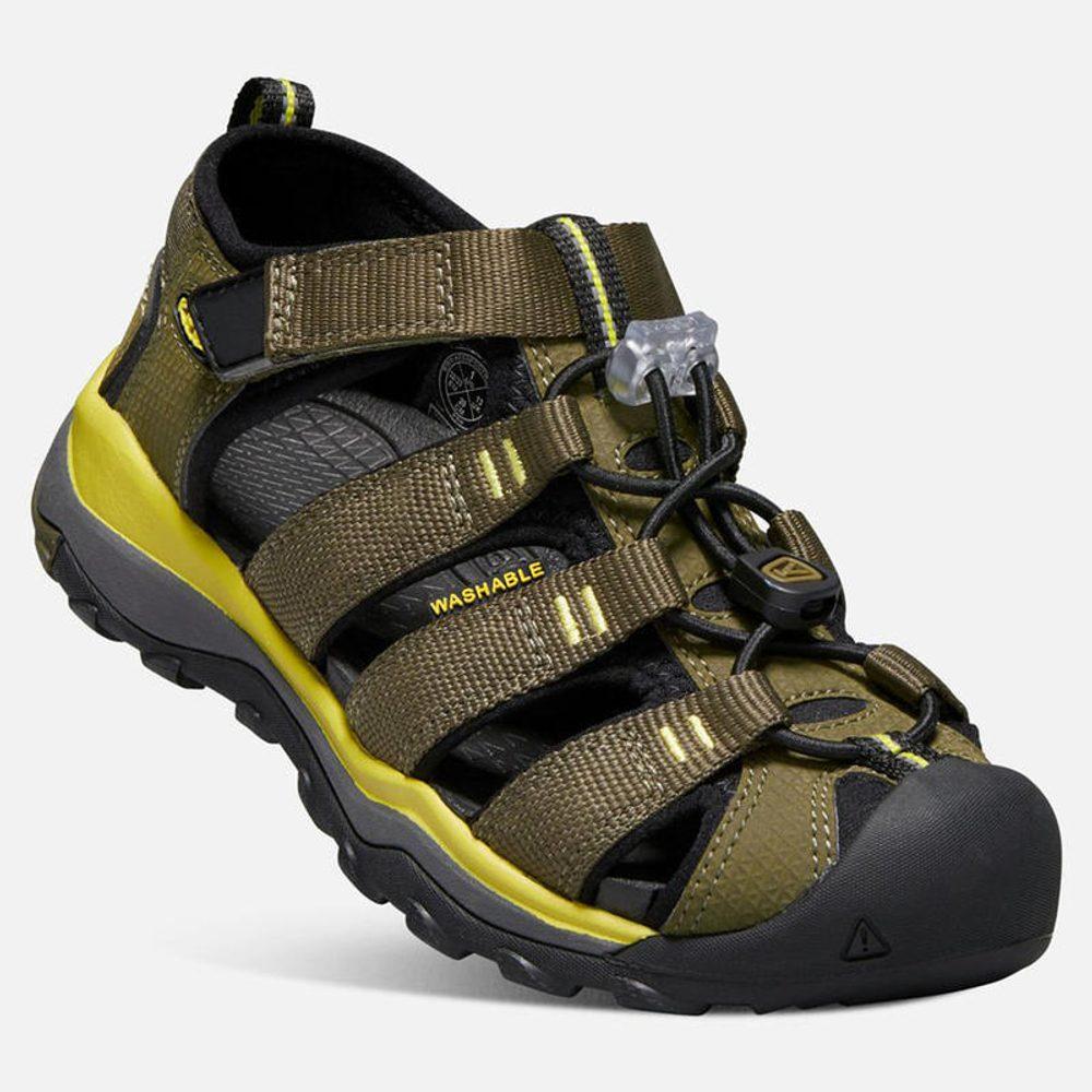 Dětské sandály NEWPORT NEO H2 JR, dark olive/celery, Keen, 1018423, khaki - 37