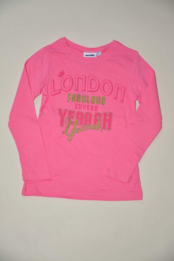 Levně tričko dívčí s dlouhým rukávem, Wendee, ozfb102506-1, růžová - 104
