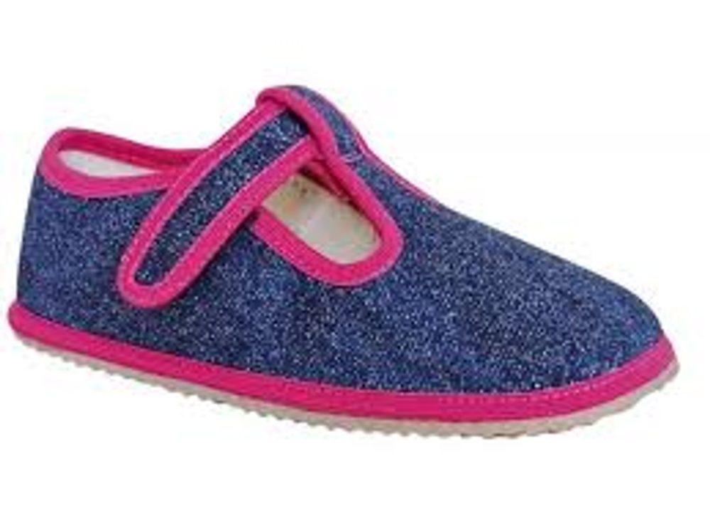 papuče dievčenské Barefoot RAVEN NAVY, Protetika, modrá - 30