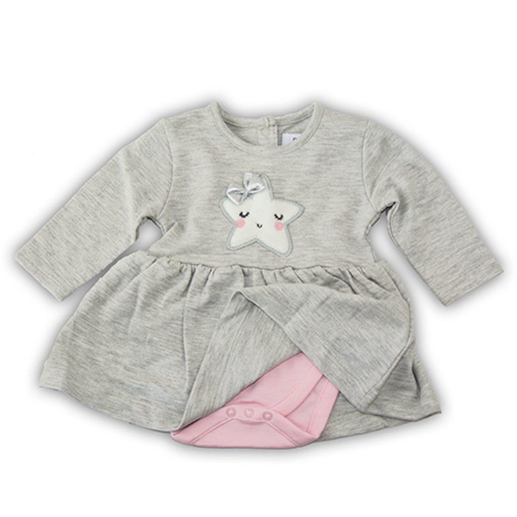 Šaty kojenecké se vsazeným body, Minoti, SHINE 8, šedá - 62/68