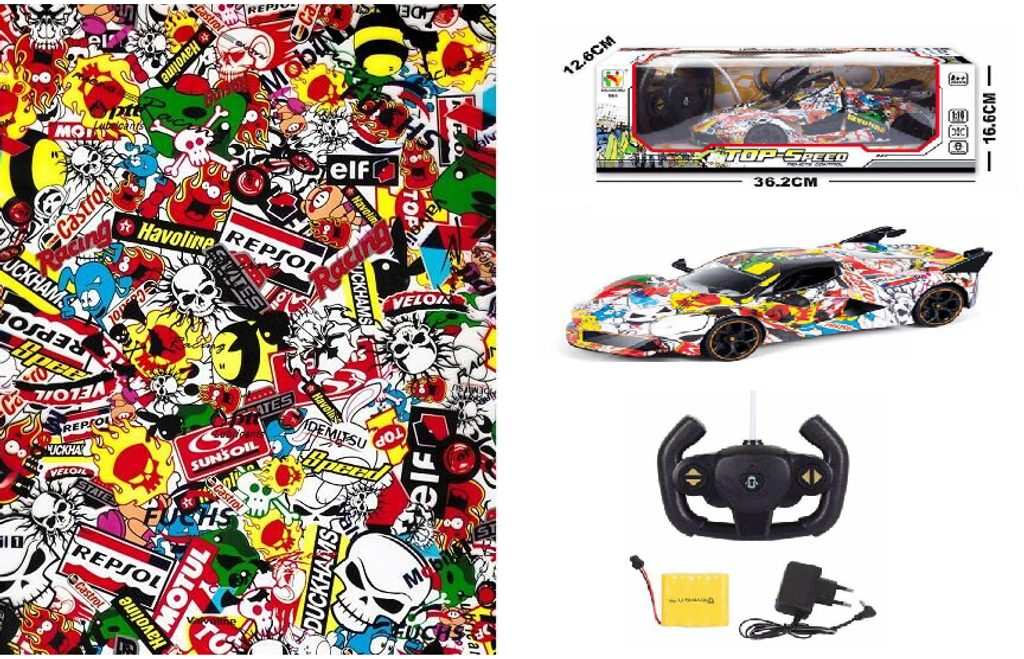 RC auto, graffiti 36 cm, Wiky RC, W006611