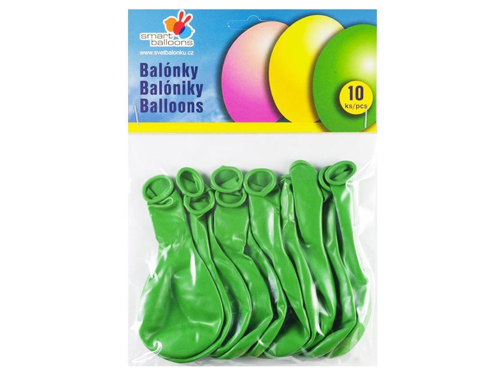 Balónek nafukovací - sada 10ks ZELENÉ 26cm, Smart Balloons, W040581
