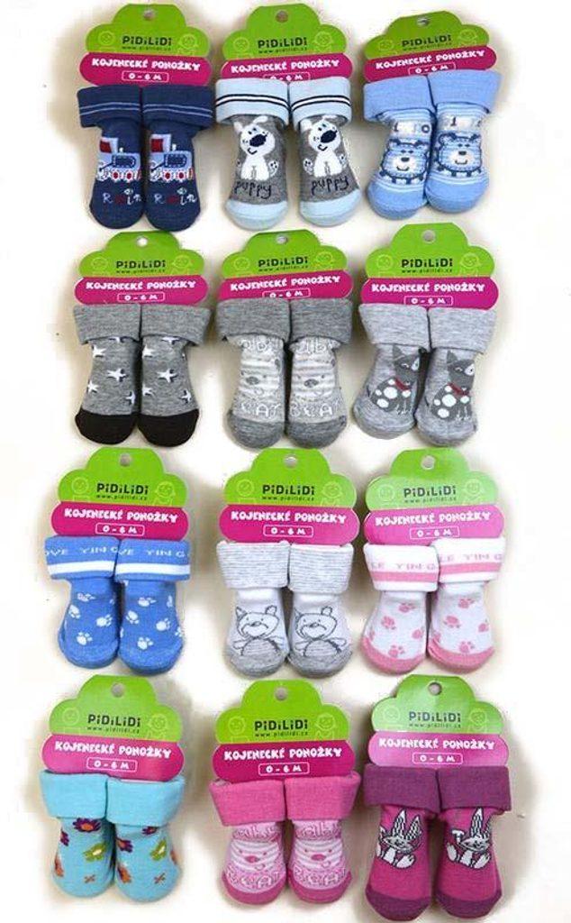 ponožky kojenecké na kartě (0 až 6m), Pidilidi, PD112, mix - 0-6m