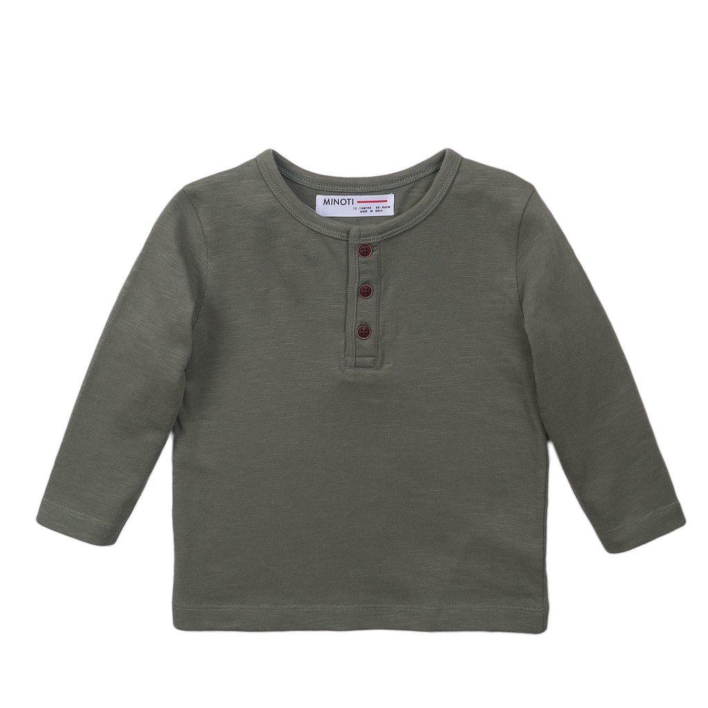 Tričko chlapecké s dlouhým rukávem, Minoti, 3BHENLEY 6, khaki - 98/104