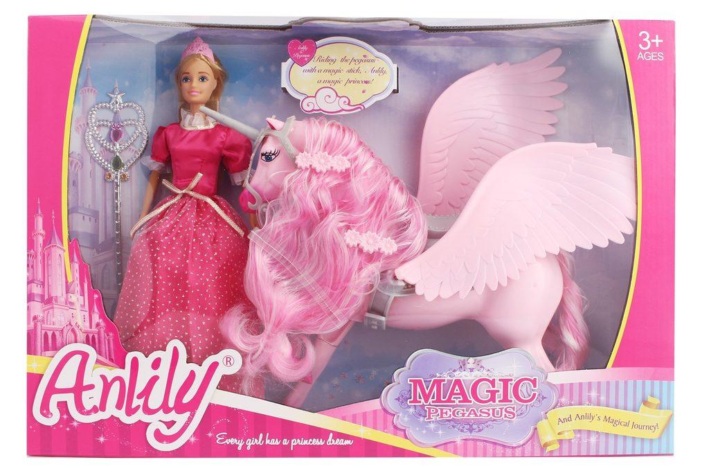 Panenka s Pegasem 31cm - růžová barva, Wiky, W006572